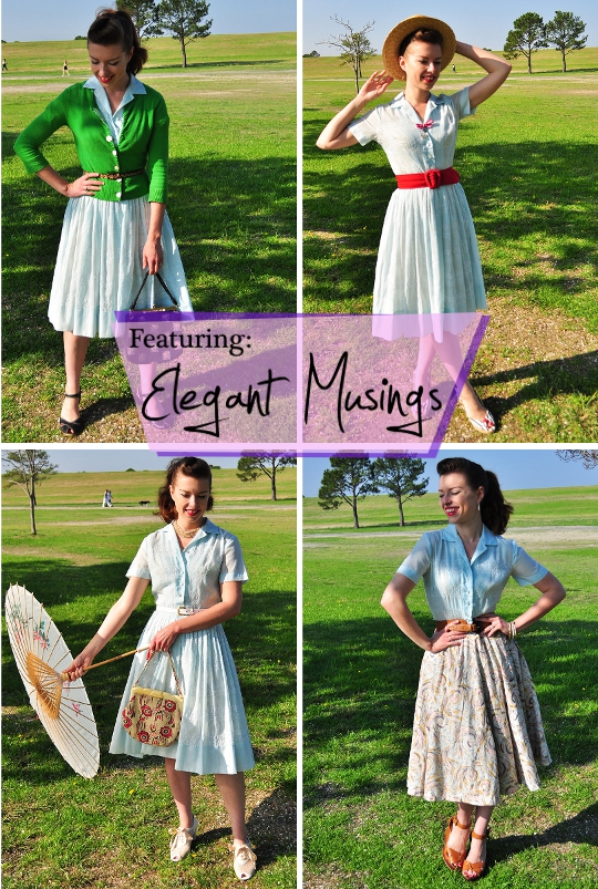1950s shirtwaist dress shown styled 4 ways