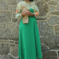 1970s maxi dress styled into an outfit by fashion blogger Stylish Thought