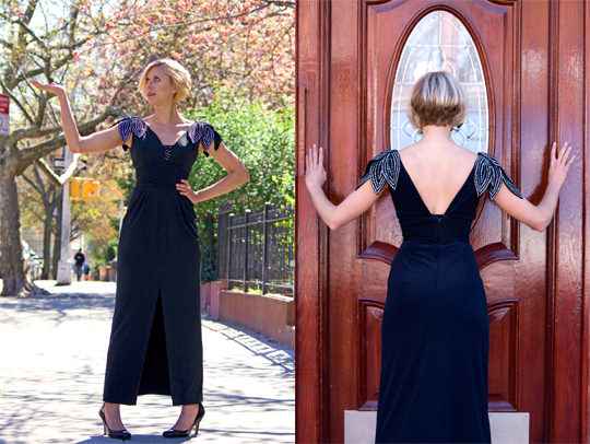 1980s black evening gown with sequins front and back