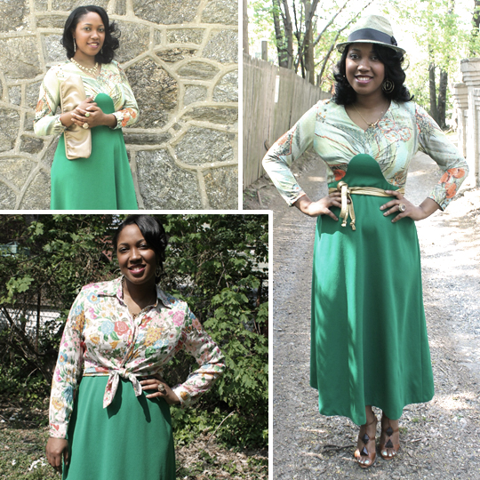 1970s green maxi dress worn with 3 sets of accessories