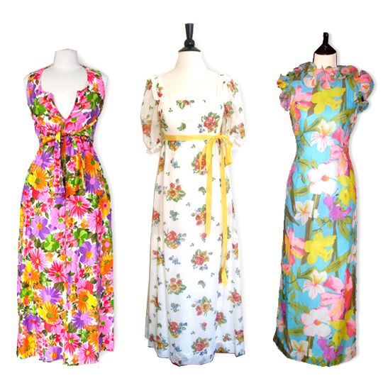 3 different vintage floral maxi dresses