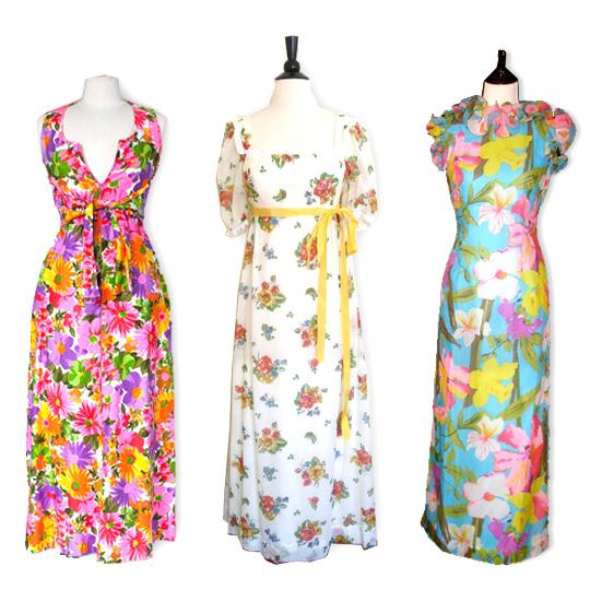 3 different vintage floral maxi dresses