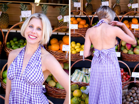 70s-Gingham-Halter-Dress-purple-front-back