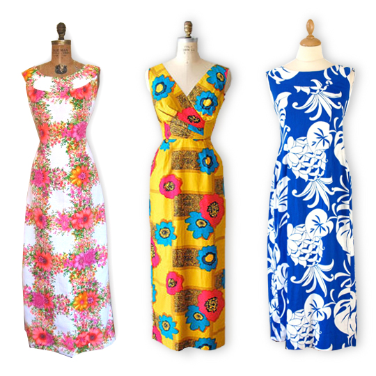 3 different vintage hawaiian maxi dresses