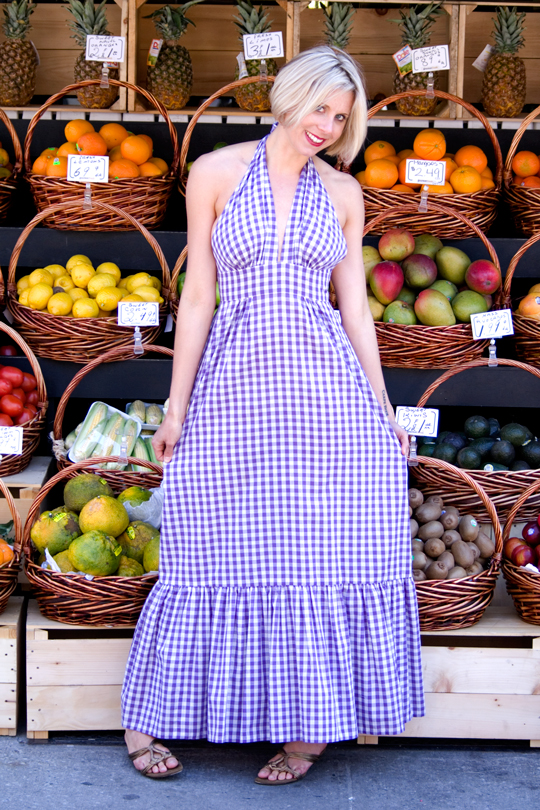 70s-Gingham-Halter-Dress-Purple-Long