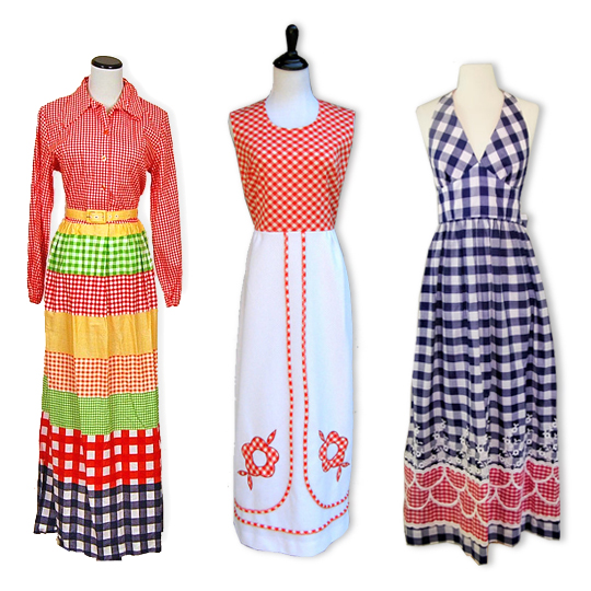 3 vintage gingham patterned maxi dresses