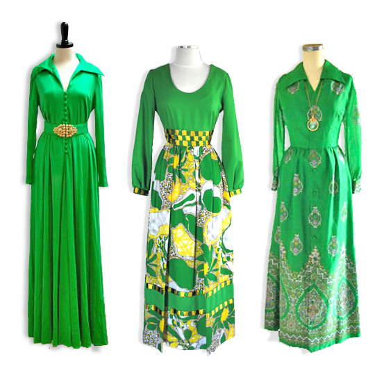 3 different green vintage maxi dresses