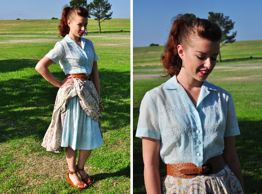1950s vintage shirtwaist dress styled