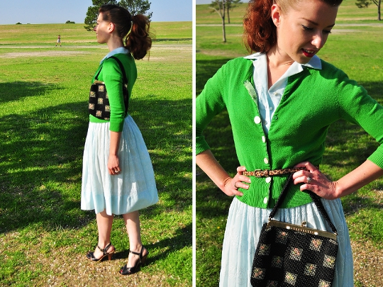 1950s vintage shirtwaist dress styled for day