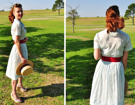 1950s vintage shirtwaist dress styled with a boater hat