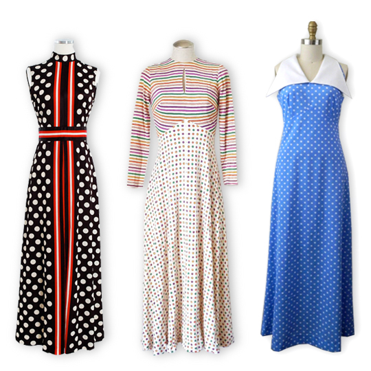 3 different vintage polka dot maxi dresses