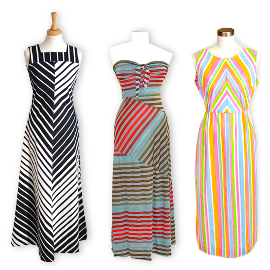 3 different vintage striped maxi dresses