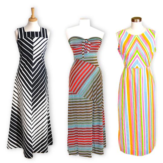 3 different vintage striped maxi dresses
