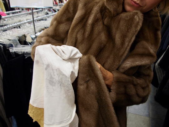 thrift store shopping check fur