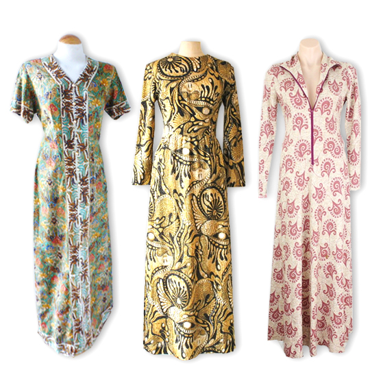 3 different vintage tribal maxi dresses