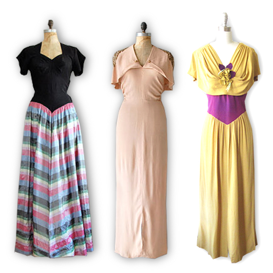 3 maxi dresses from the 1930s
