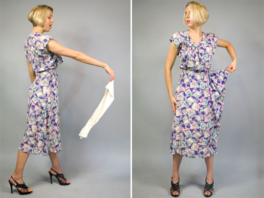 a 1940s vintage dress made from rayon and designed with a novelty print