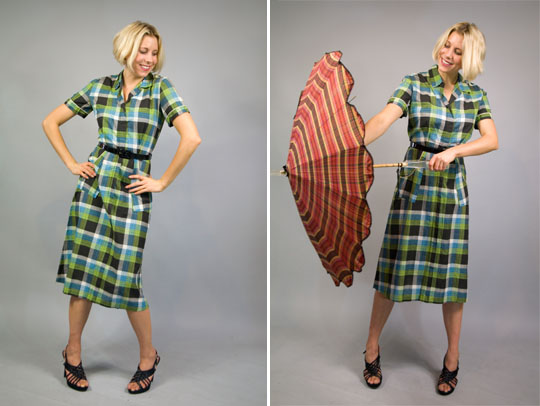 a composite image of a 1940s country plaid dress