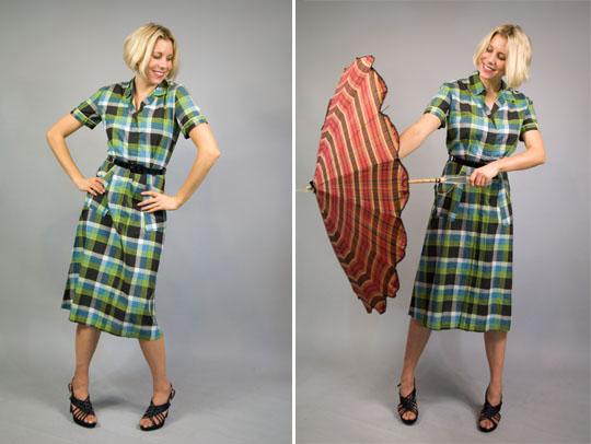 a composite image of a 1940s country plaid dress