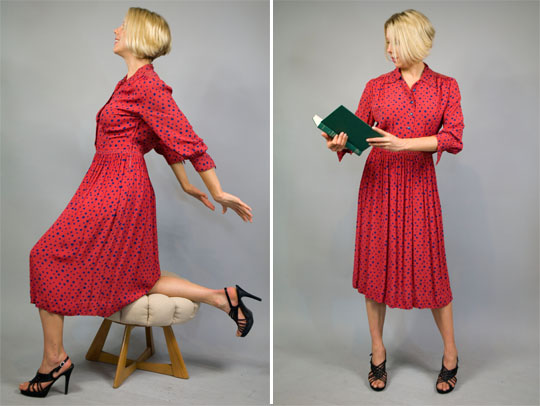 1940s red polka dot rayon dress