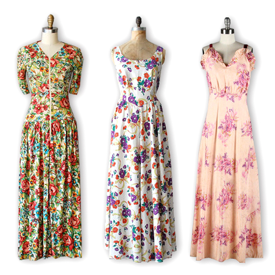 3 maxi dresses from the 1940s