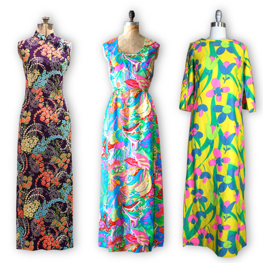 3 maxi dresses from the 1960s