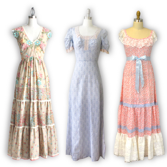 3 maxi dresses from the 1970s