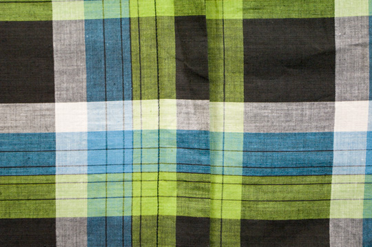 close up of the print from a 1940s country plaid dress