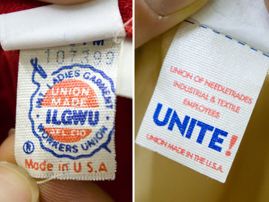 union label tags on vintage clothing