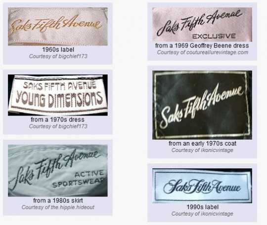 saks fifth avenue vintage clothing labels