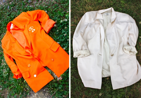 1980s vintage blazers in orange and white