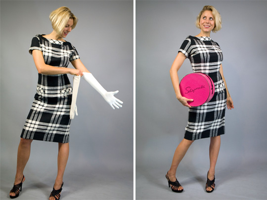 50s black and white plaid dress