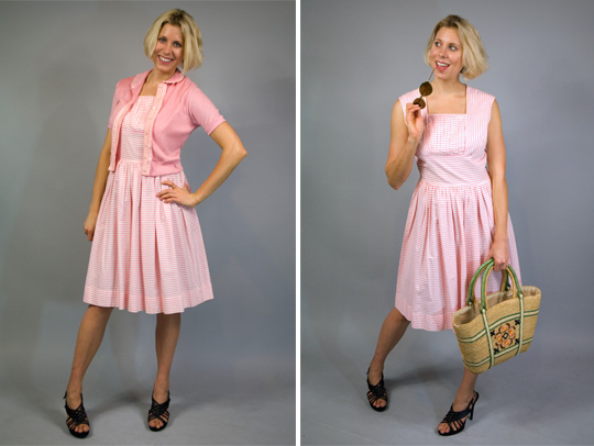 50s candy cane striped pink dress