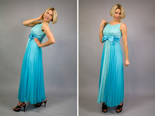 50s Blue Bowed Prom Dress