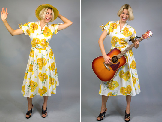 50s sunflower dress