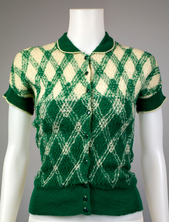 1930s knit art deco design green sweate