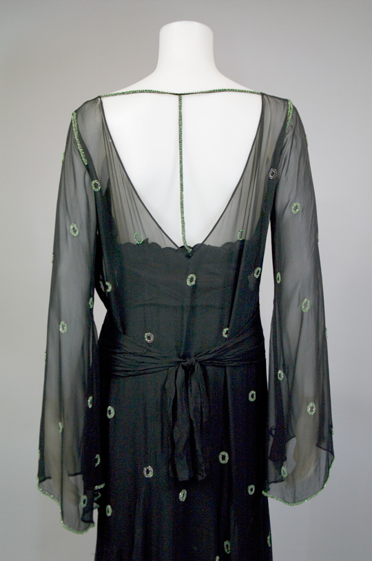 back of sheer chiffon 1930s dress
