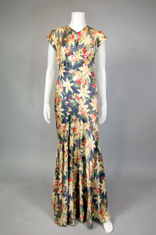 1930s silk floral bias cut dress