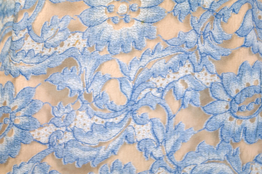 baby blue lace pattern on'50s dress