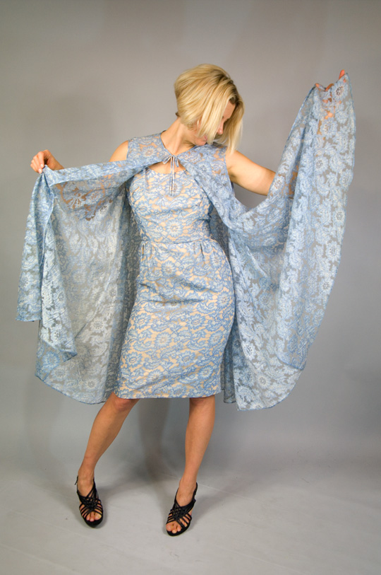 '50s blue lace wiggle dress with cape overlay