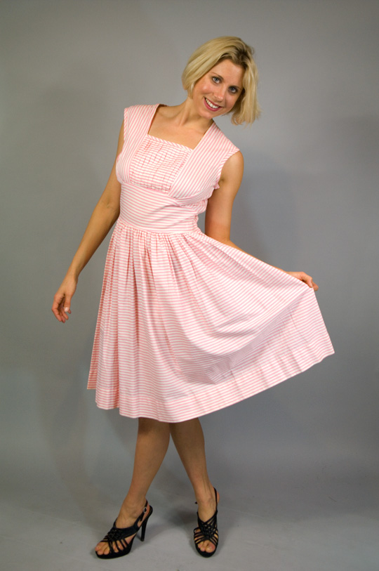 1950s candy stripe pink dress