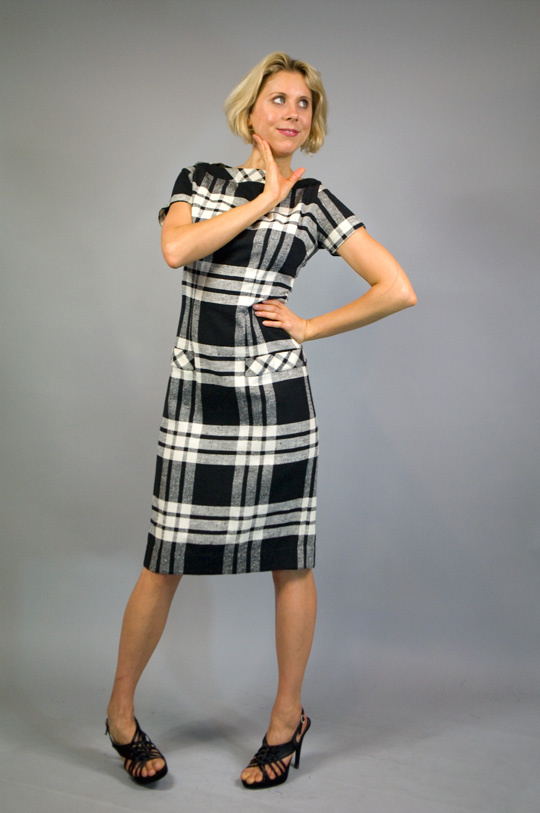 black and white plaid '50s dress