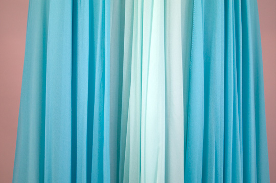 pleated blue chiffon material on 50s prom dress