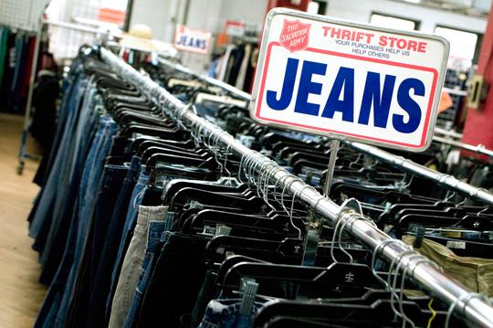thrift store shopping denim