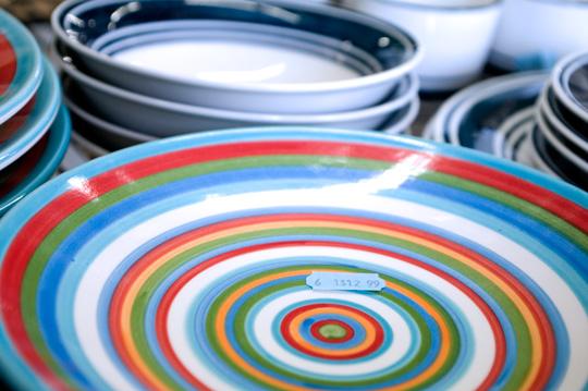 thrift store shopping dishware