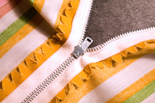 metal zipper on a vintage clothing garment