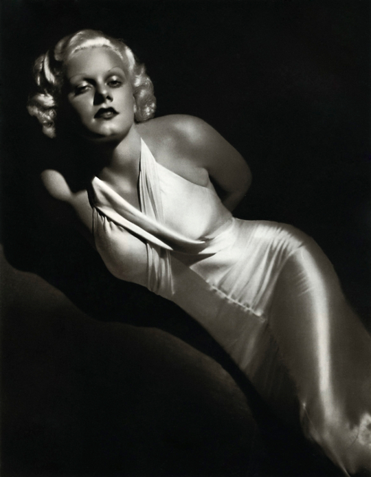 jean harlow wearing a bias cut silk dress
