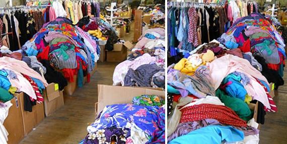 boxes of vintage clothing at bulk vintage in philadelphia, pennsylvania