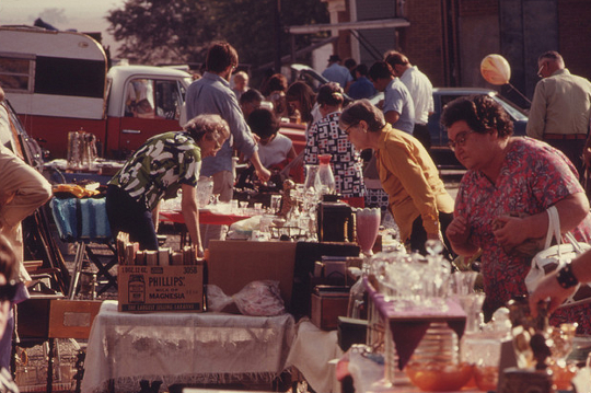 vintage photo of a flea market from us national archives