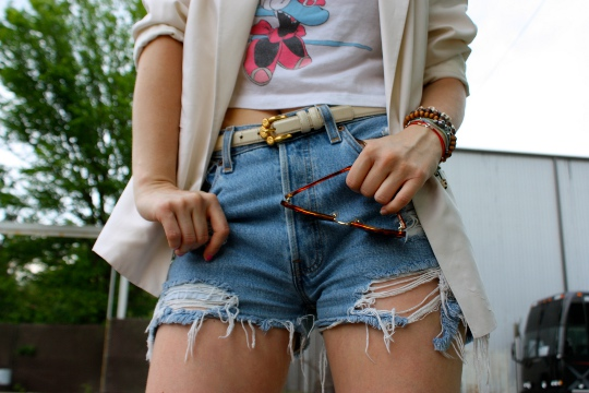 distressed cropped shorts